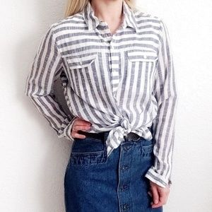 Lucky Brand Striped Linen Button Down Shirt 848
